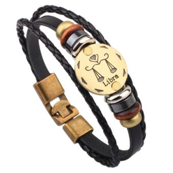 Harga CE Selling Hot Hand-Woven Beads Beads Leather Jewelry Twelve Constellations Men's Bracelet Libra Bracelet Leather Necklace Couple Bracelet Men's Bracelet Punk Bracelet - intl