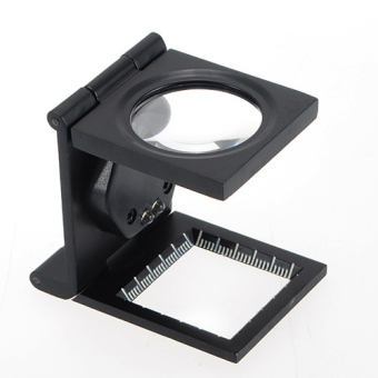 NEW 5X LED Fold Stand Scale Fabric Cloth Jeweler Magnifier Magnifing Glass Loupe- intl ...