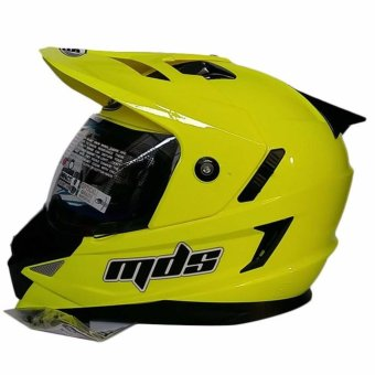 Harga MDS Helm Full Face Motor Cross MDS Super Pro Supermoto Double Visor Yamaha Ninja Honda Yellow Fluo - Kuning