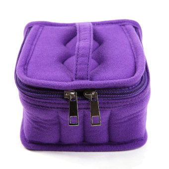 Harga HengSong Portable 16 Bottles Essential Oil Bag Carrying Case Double Zipper Travel Makeup Cosmetic Bag Purple