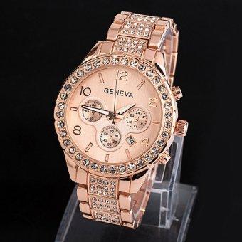 ... Home Imitasi Chronograph Kuarsa Kristal Bulat Klasik Wanita Perhiasan Emas Jenewa Mewah Wanita Fashion