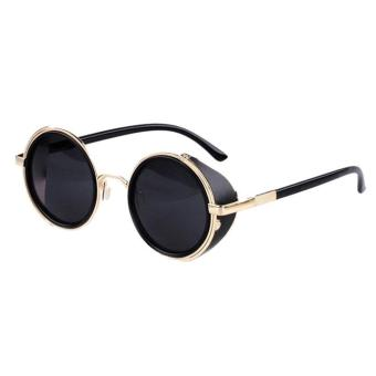 Mirror Lens Round Glasses Cyber Goggles Steampunk Sunglasses Vintage Retro - intl