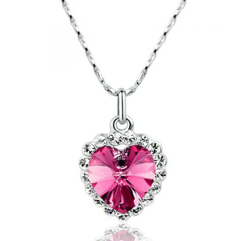 Harga La Vie Jewelry Silver Plating Zircon Lucky Hearts Necklace (Pink)