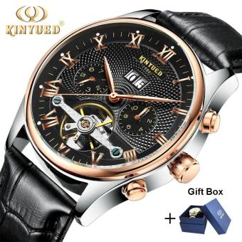 Harga Coowalk Skeleton Tourbillon Mechanical Watch Automatic Men Classic Rose Gold Leather Mechanical Wrist Watches - intl