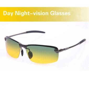 Harga Day & Night View Vision Glasses Anti-glare Driving Polarized Sunglasses(Black Frame) - intl