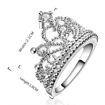 Moonar Fashion Princess Crown Cincin Perhiasan Berlian Imitasi Yang Baik International 3 .
