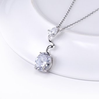 JURE S925 Solid Sterling Silver rantai salju putih perhiasan kalung kristal yang berkilau Zirconia 45