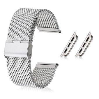 Harga Silver Stainless Steel Watch Band Strap Adapter For Apple Watch iWatch 38mm/42mm 42mm