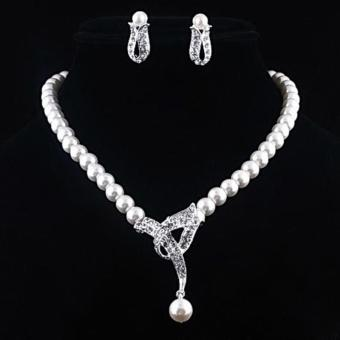 Harga Women Faux Pearl Crystal Necklace + Earrings Jewelry Set For Wedding Party - intl