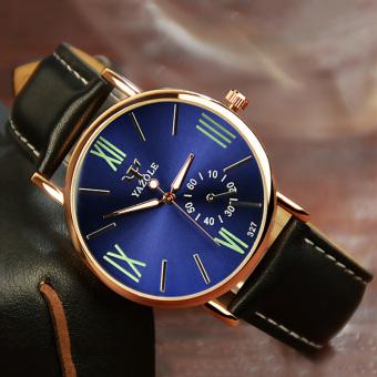 Yazole Analog Leather Band Quartz Wrist Watch (Blue+Black)