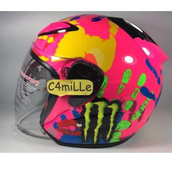 Harga HELM NHK R6 FINGER PINK MONSTER ROSSI HALF FACE
