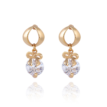 Harga Classy Bow Bowknot Crystal Earring Woman Ear Stud 18K Gold Filled - intl