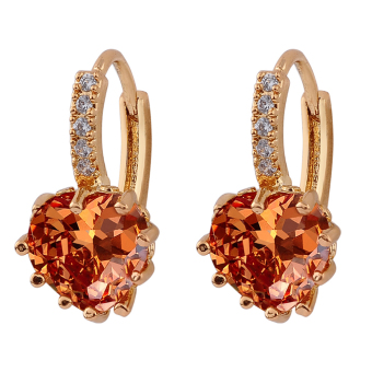 Womens Engagement Gold Plated Rhinestone Leverback Earrings Champagne .