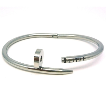 Harga Stainless Steel Nail Style High Polish Bangle Bracelet (Silver) - intl