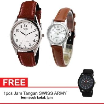 Harga Casio Couple Watch Jam Tangan Couple - Cokelat - Strap Leather - Casual Watch + Gratis Swiss Army Watch