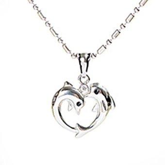 Titanium - Kalung Silver Dolphin Love Pendant
