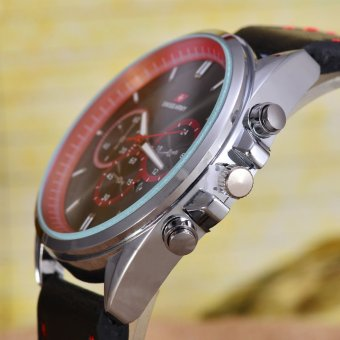 Swiss Army - Jam Tangan Pria – Body Silver – Black/Red .