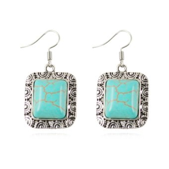 Harga Jiayiqi Square Turquoise Dangle Earrings