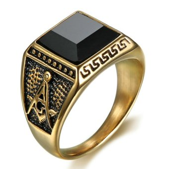 Natural Onyx Stainless steel Masonic Memorial religious Party ring Size 7 8 9 10 11 12 13 14 15 - intl