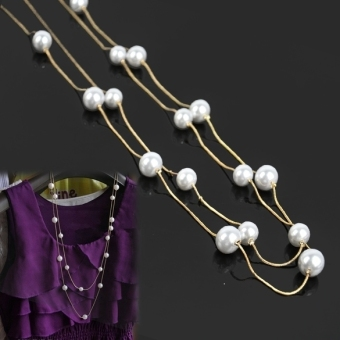 Harga Ladies Nice Jewelry Pearl Double Layer Long Necklace (Multicolor) - intl