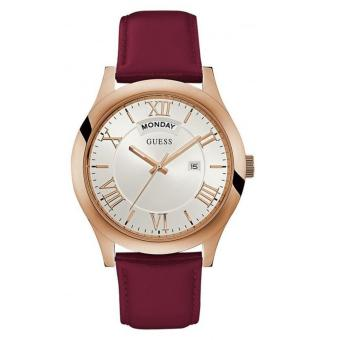 GUESS W0792G10 - Jam Tangan Pria - Leather - Red - Gold