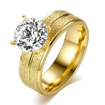 Stainless steel personality four claw ring inlaid large round zircon ring titanium steel gold plated ring