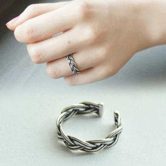 Harga Amefurashi Cincin Open Vintage Silver Twisted Ring