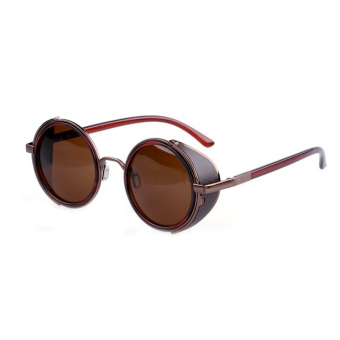 Harga SuperCart Vintage Round Sunglasses (Brown)