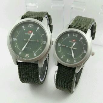 ... Silver Katalog Source Swiss army Jam Tangan Couple Stainless Steel Kanvas SA 1454 DB Green
