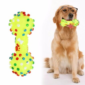 Harga Dog Toys Colorful Dotted Dumbbell Shaped Dog Toys Squeeze Squeaky Faux Bone Pet Chew Toys For Dogs - intl