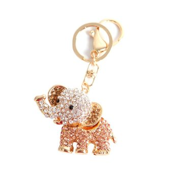 Harga Cocotina Cute Rhinestones Elephant Charm Pendent Key Chain Crystal Purse Bag Clip On Key Ring (Champagne)