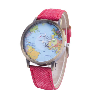 Fashion explosion of the earth plane seconds canvas with stylish Quartz Watch Ladies Watch - intl