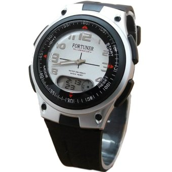 Fortuner Fr9987Hs Dual Time Jam Tangan Pria Rubber Strap Hitam Silver .