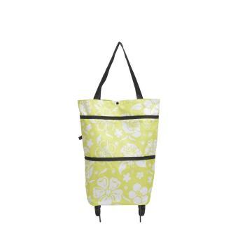 Foldable Trolley Bag Hijau bunga Cart Tas Troly Troli Keranjang Lipat 2