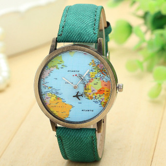 Harga New Global Travel By Plane Map Women Dress Watch Denim Fabric Band Green