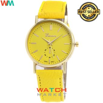 Harga Geneva - 004 - Leather Strap Watch Women Fashion Quartz Watch - Kuning