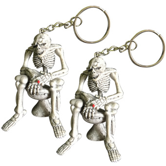 Harga 2 PCS Rubber Skull Sitting On Closestool Pendant Hanging Key Ring Key Chain Keychain Halloween Gift