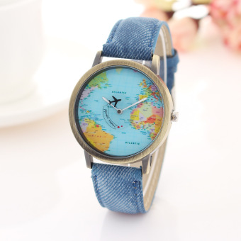 Harga Vintage Style World Map Dial Leather Watch-Travel Around the World Wrist Watch (blue)