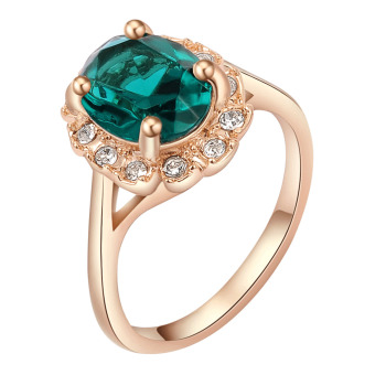 Harga Crystal Zirconia Diamond Rose Gold Plated Rings for Women Engagement Green - intl