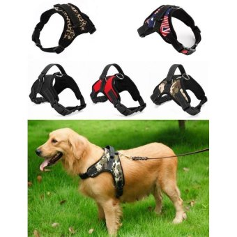 Harga Big Dog Soft Harness Adjustable Pet Dog Big Exit Harness Vest Collar Strap for Small and Large Dogs Pitbulls - Red (S) - intl