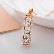 Indah berlian tunggal hias zirkon klavikula rantai perak liontin