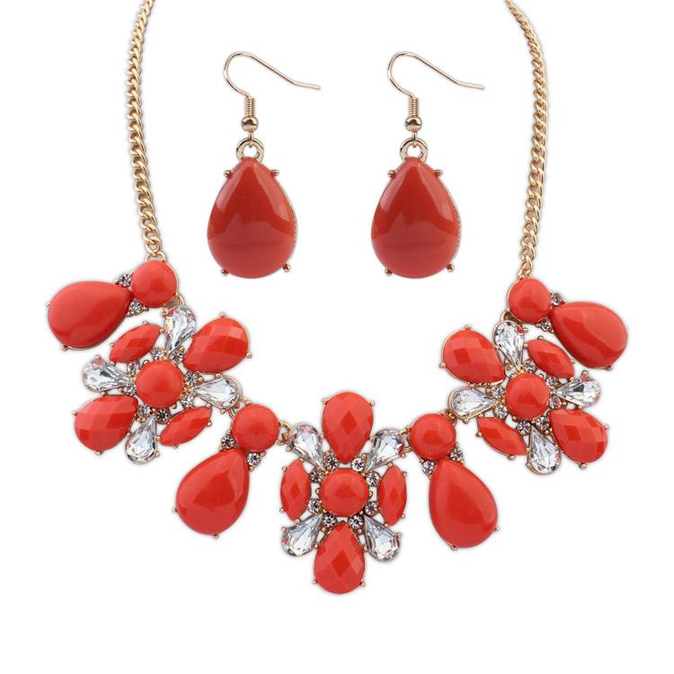 Indah Korea Fashion Style dibesar-besarkan memukul warna necklace necklace anting-anting