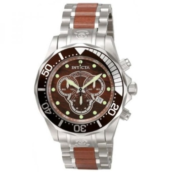 Invicta Mens 0164 Pro Diver Collection Chronograph Wood and Stainless Steel Watch - intl