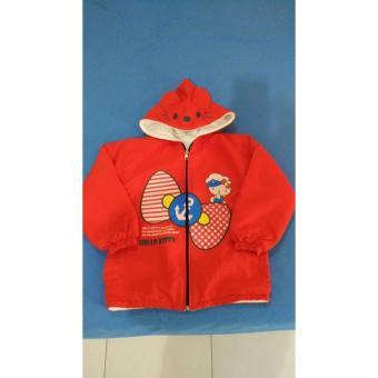 Jaket Jacket Baju Dingin Anak Hello Kitty Parasut Merah Pakai Topi SS423
