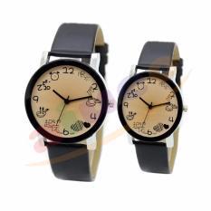 Jam Tangan Couple Faux Leather Quartz Wrist Couple Edition