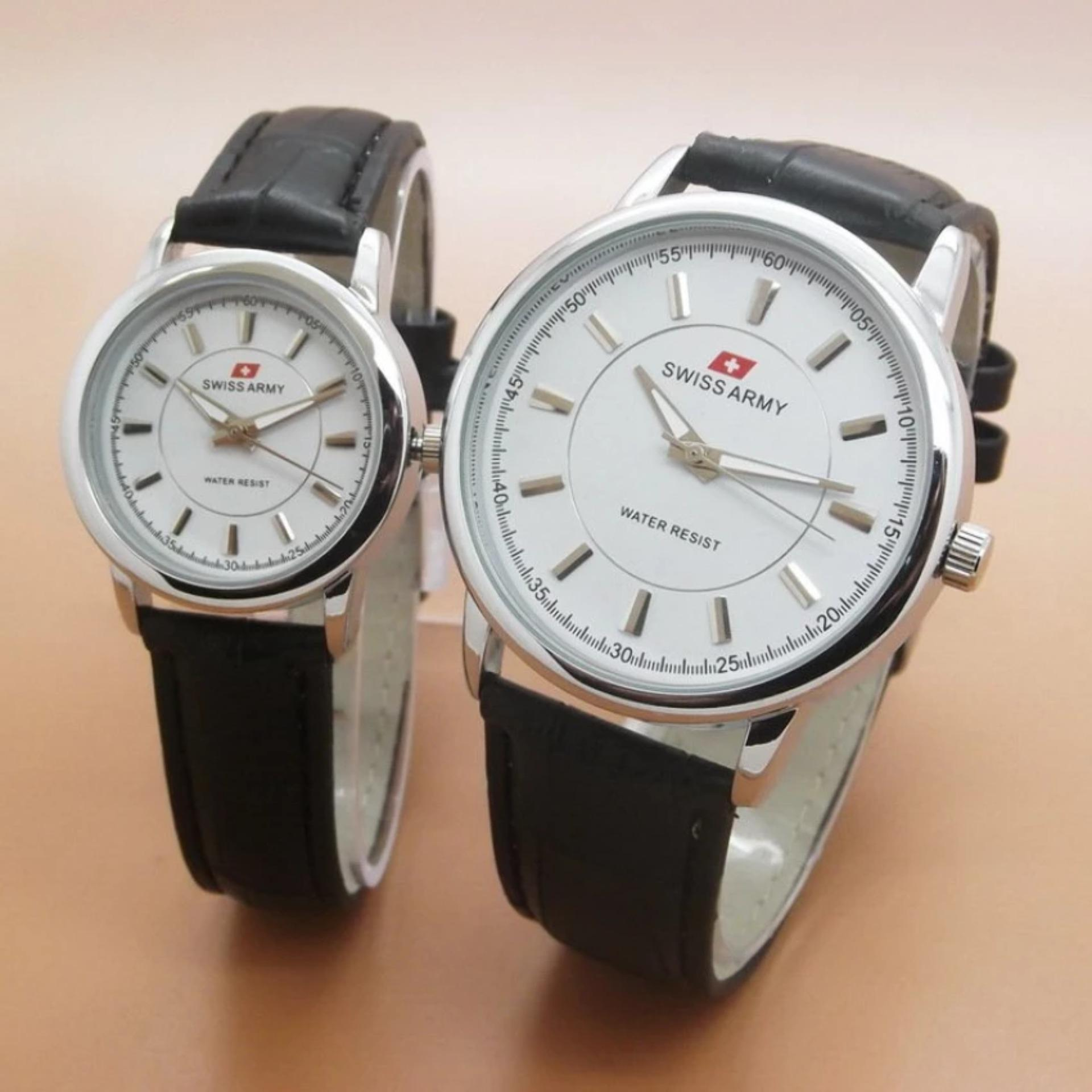 Jam Tangan Couple Series Swiss Army Strap Kulit Hitam Dial Putih SA445 Terbaru .