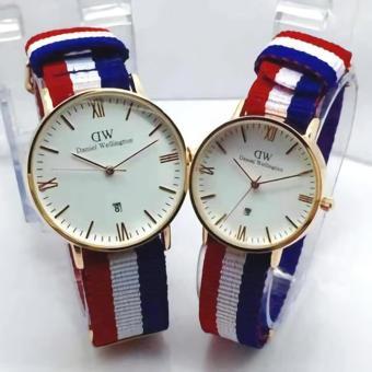 Harga Jam tangan Fashion pria-wanita-couple tali kanvas merah-putih ... 4a2d49dac1