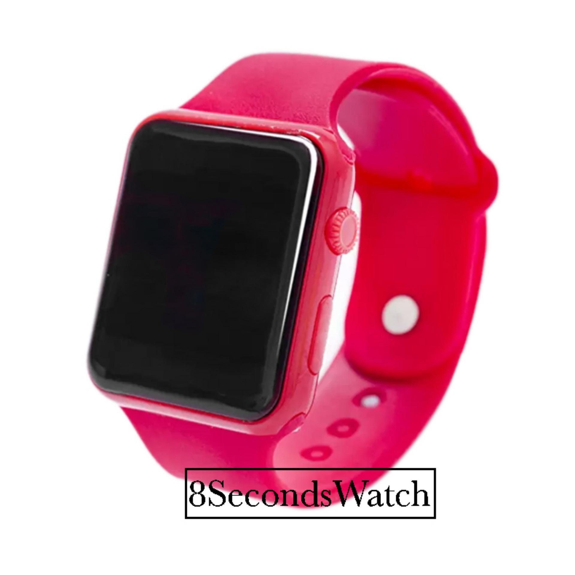 Jam Tangan LED Jam Tangan Pria dan Wanita Strap Karet Merah Apple Red .