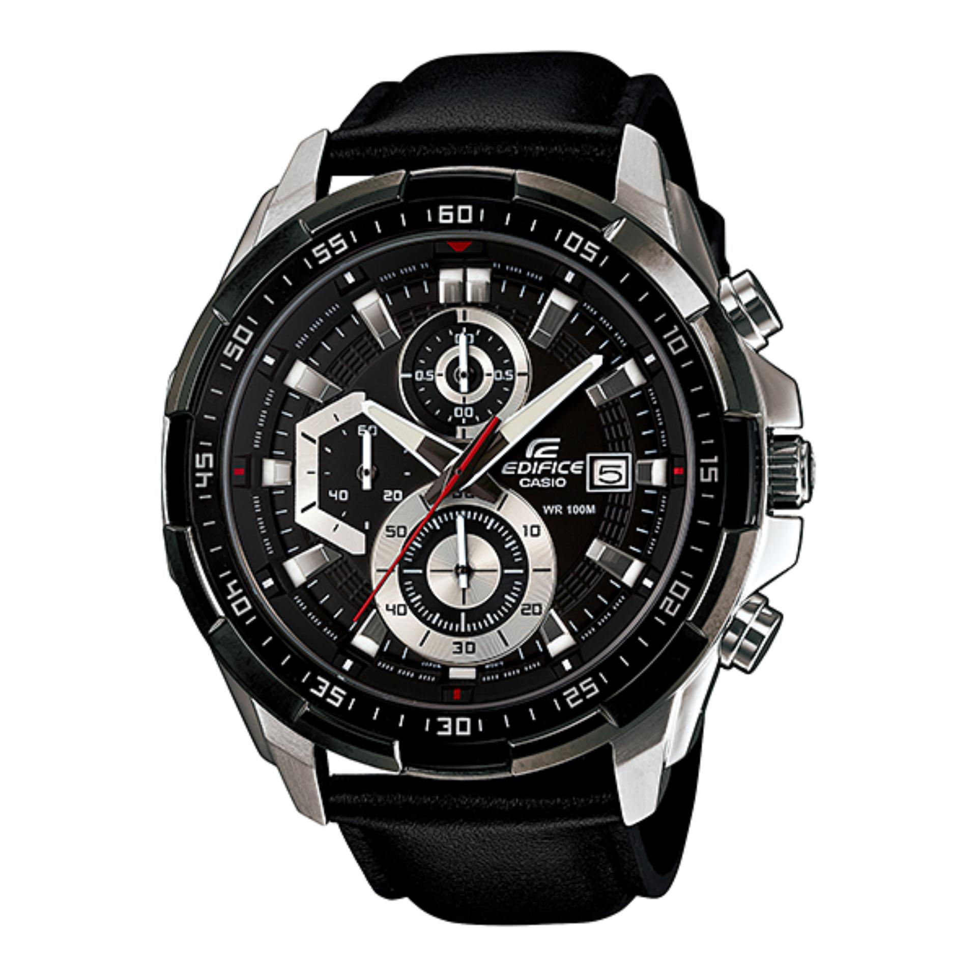 Jam Tangan Pria Casio Edifice EFR-539L-1AV Strapp Leather .