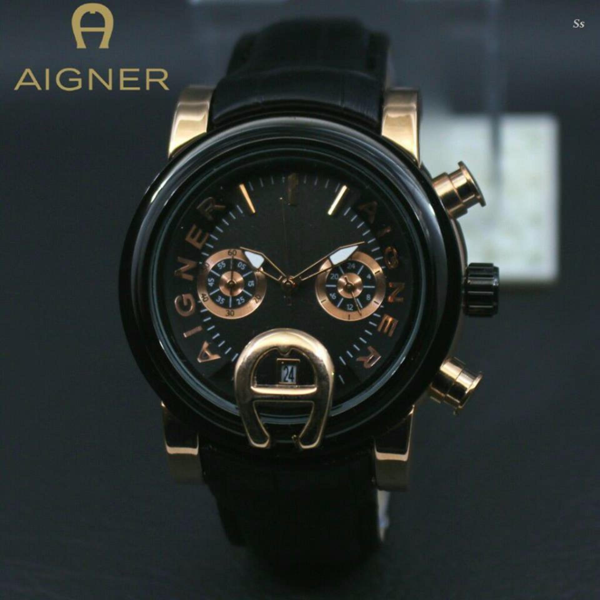 ... Jam Tangan Pria Casual Aigne'r - Chrono Aktif - Black leather strap ...